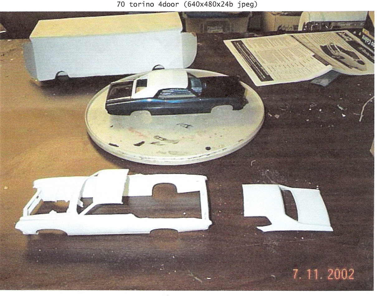 Start of  70 torino 4 door conversion. Started with the new Revell Cobra sportsroof(tailights are the same as 4 door) heavily modified roof & deck lid from 69 Couger