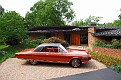 06 1963 Chrysler Ghia Turbine Car side view at sixties-era modern home