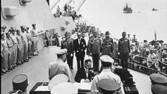 15 - September 2, 1945 Japan surrenders on the deck of the USS Missouri in Tokyo Bay
