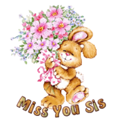 Miss You Sis - BunnyWithFlowers