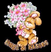 Hugs & Kisses - BunnyWithFlowers
