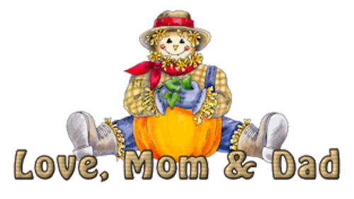 Love Mom & Dad - AutumnScarecrowSitting