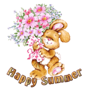 Happy Summer - BunnyWithFlowers