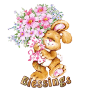 Blessings - BunnyWithFlowers