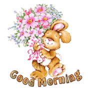 Good Morning - BunnyWithFlowers