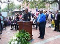 Congressman Kendrik Meek delevering his message to the people of Haiti and Savannah, Chairmen of HAHS Daniel Fils-Aime.