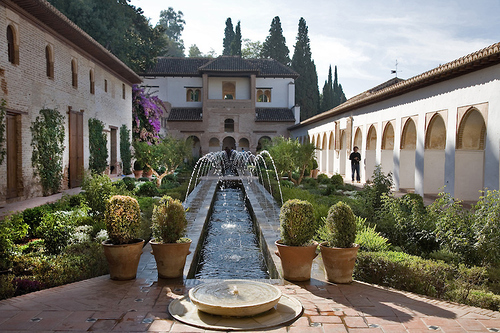 Generalife Gardens in Moorish Alhambra Palace, Andalucia, Spain
