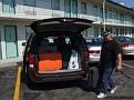 Det börjar bli en del att lasta i och ur bilen, här lastar vi i den 30 gradiga värmen i Detroit.