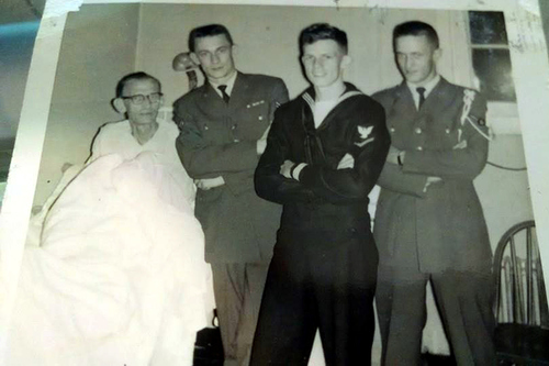 Dad and my 3 brothers  Probably the last picture taken before he died in 1963