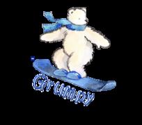 Grumpy - SnowboardingPolarBear