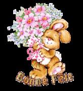 Bonne Fete - BunnyWithFlowers