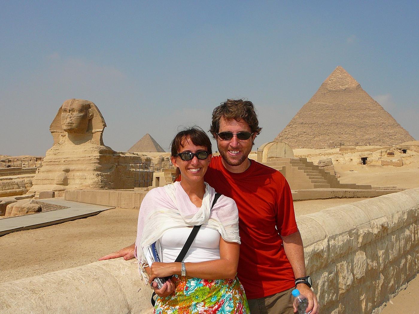 L-->R...Sphinx, P. of Menkaure, Us, P. of Khafre