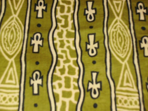 Olive & Black ANKH fabric from BENIN!  This was discontinued and I have just found another 5 or 6 bolts.  It also comes in pretty new color, purple! ORDER NOW! $6 a yard, 5 yard minimum