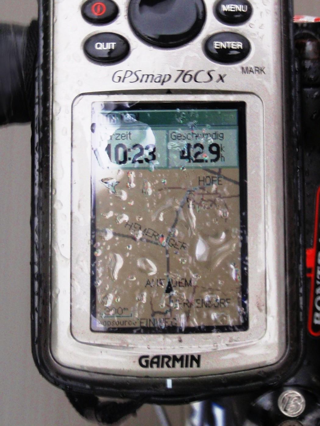 Gut, dass das GPS wasserdicht ist!