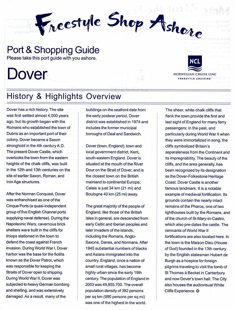 NCL's Dover Port & Shopping Guide