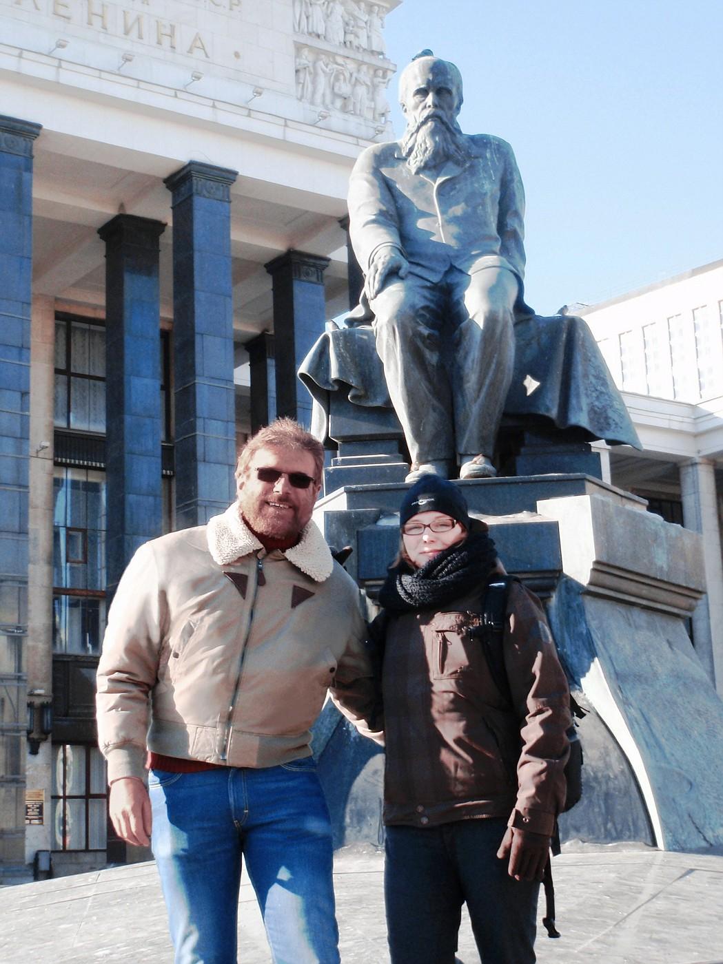 At feet of Dostoyevsky