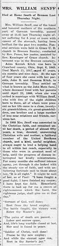 Anna K Senff obit - Enquirer Thu Mar 22 1917