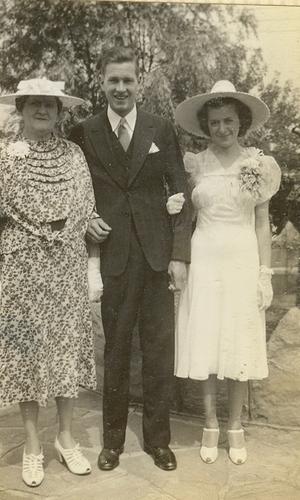 Mary Agnes Bennett Abel with Frederick Richard Abel & Mildred Helen Ondris on their wedding day, Charleroi, Washington County, Pennsylvania, 17 JUL 1939. Photo from FrederickAbel15, Ancestry.com.