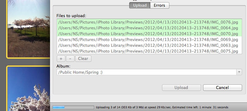Drag and drop from your iPhoto or anywhere else or browse pictures then watch them upload!