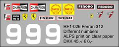 RF1-026 Ferrari 312 Numbers, sponsors and badges