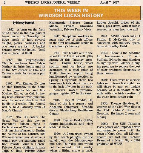 2014-10-17 - MICKEY DANYLUK - THIS WEEK IN WINDSOR LOCKS HISTORY
