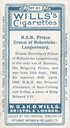 1908 Wills European Royalty #061 (2)