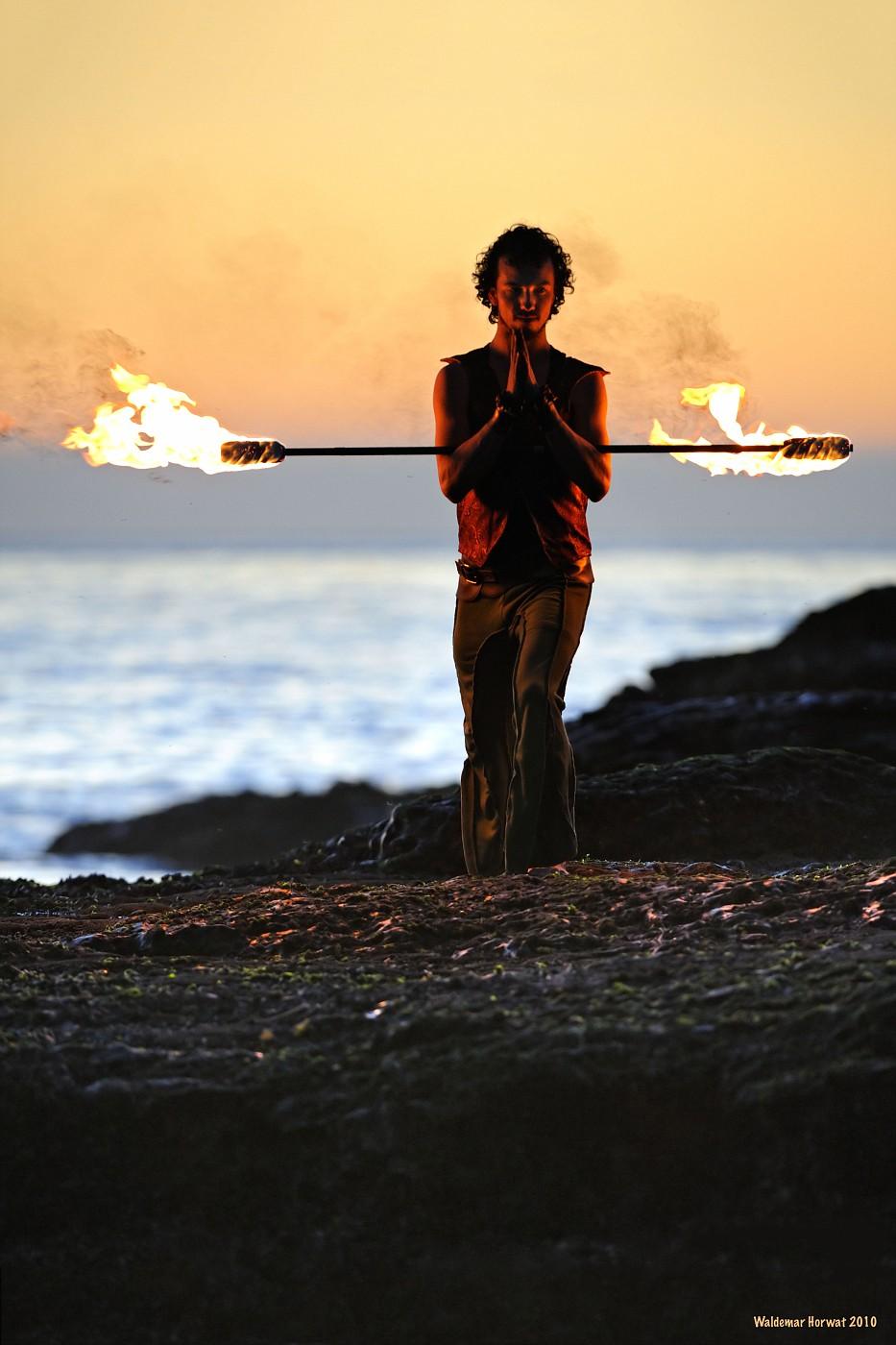 Beach Sunset Fire Yoga