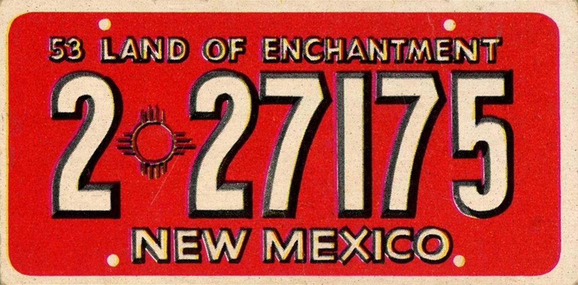 1953 Topps License Plates #18 (1)