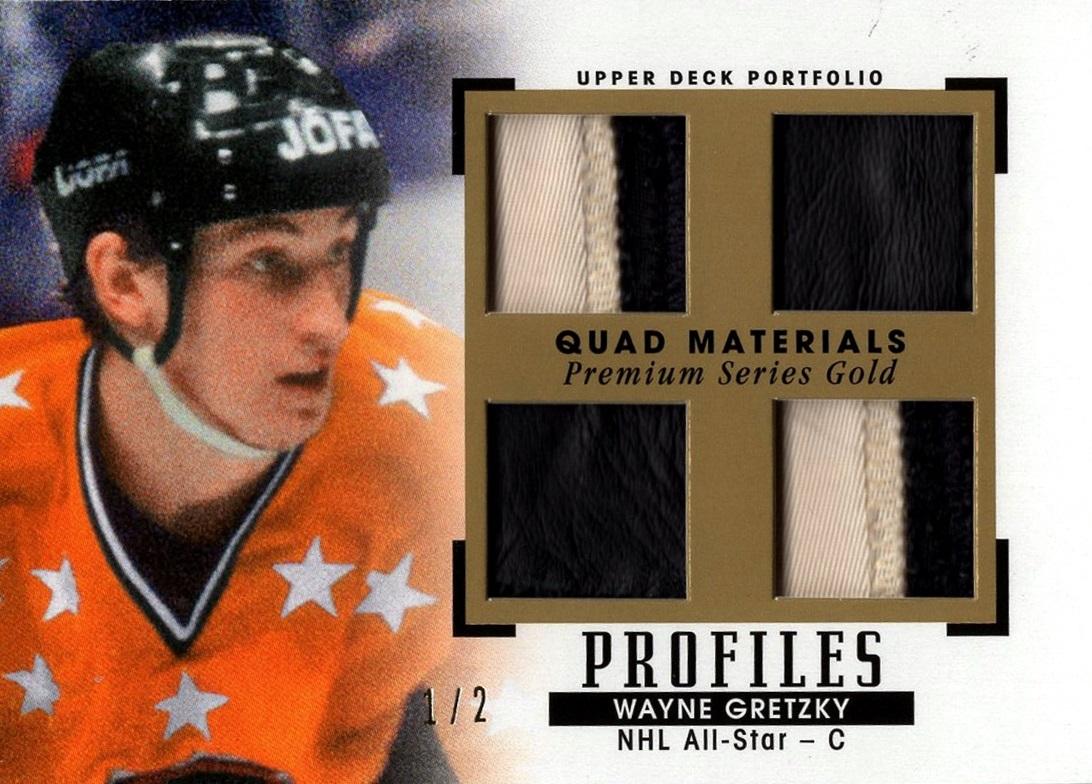 2015-16 Upper Deck Portfolio Profiles Quad Materials Premium Series Gold Wayne Gretzky (1)