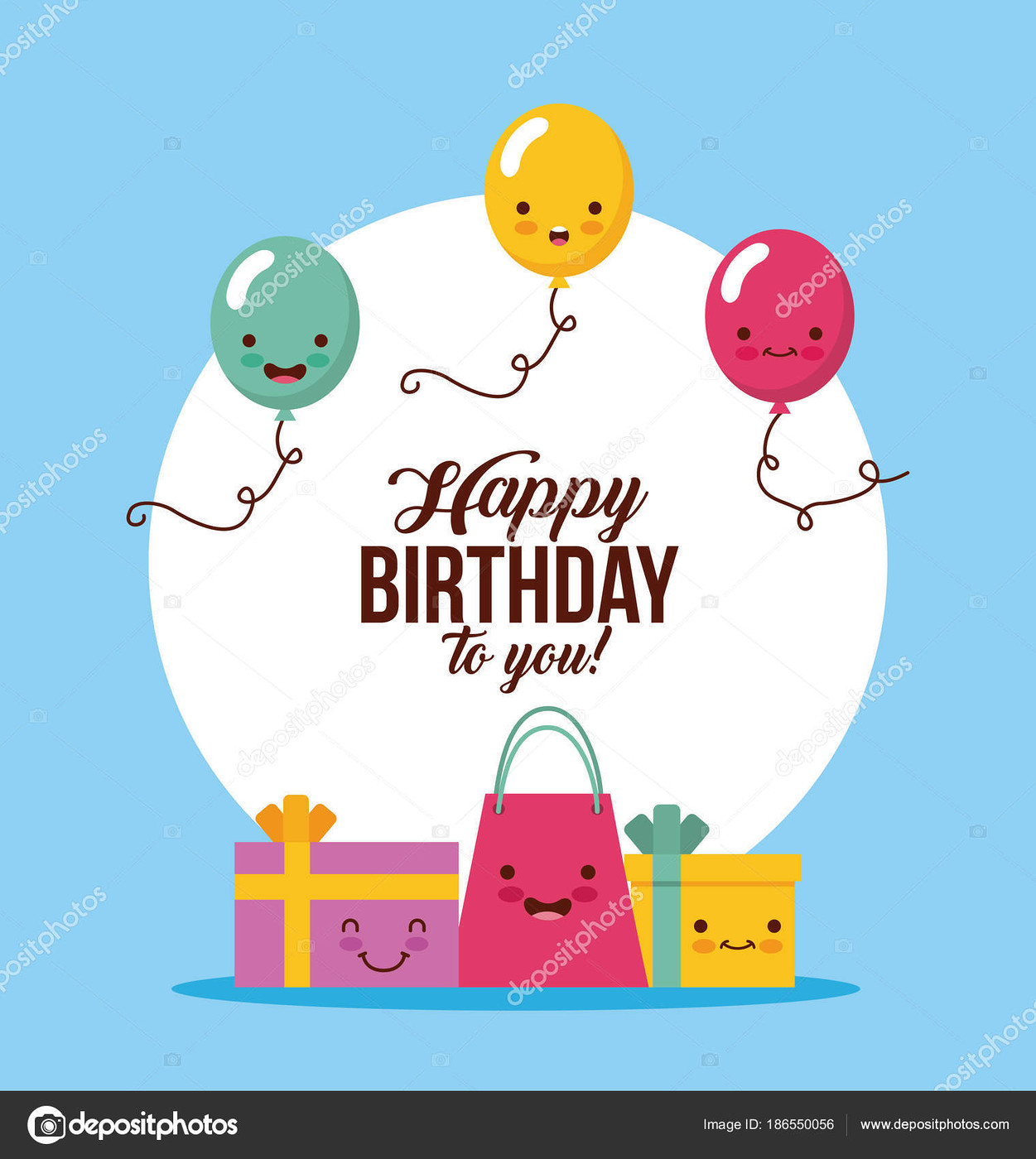 happy birthday kawaii ballons