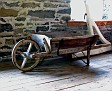 old wooden  wheel barrow