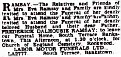 DEATH ANNOUNCEMENT FREDERICK DALHOUSIE RAMSAY Friday 15 August 1947